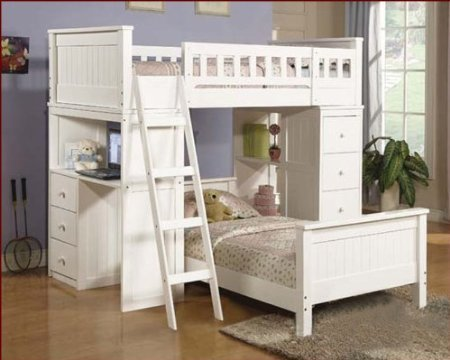 White twin loft bed