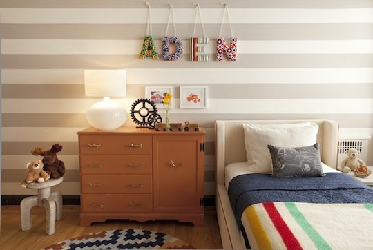 I am loving this eclectic kids room - it's shared between a boy and baby girl, and it works! Darling!