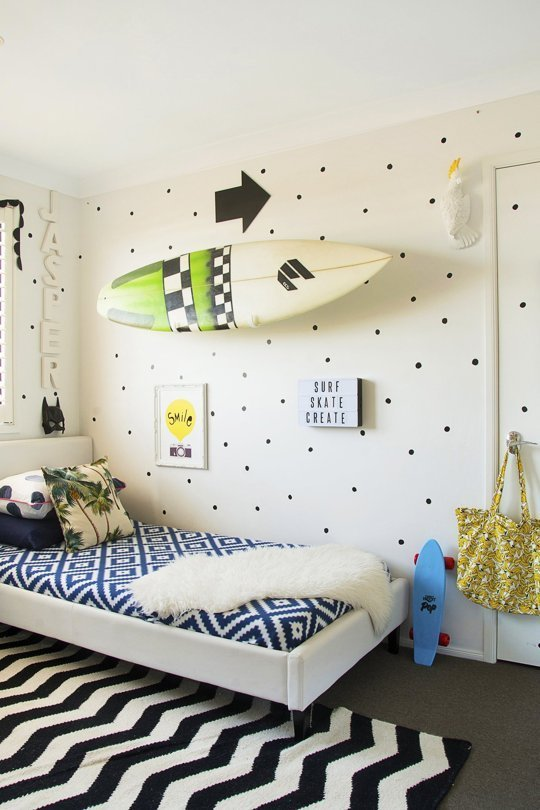 This eclectic kids room is fabulous! I can't get enough of that wall!