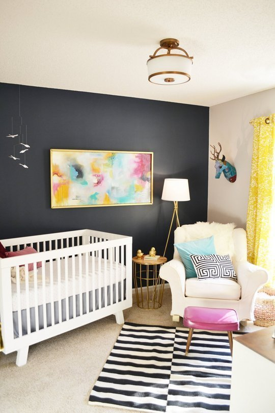 This is SO GLAM - loving this eclectic kids room!