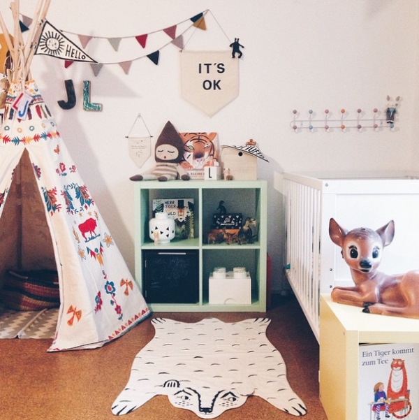 I'm loving these eclectic kids rooms! THAT TEEPEE!