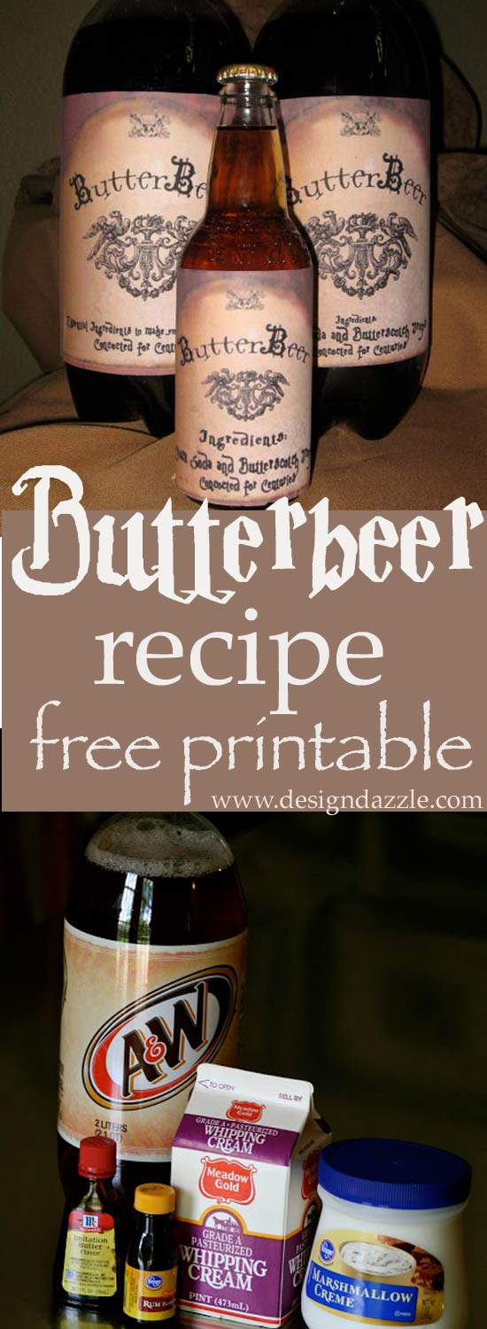 Recipe for yummy Butterbeer and print out your own FREE Butterbeer labels - Design Dazzle