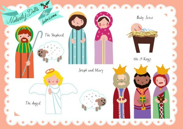Free nativity paper doll printables featured on Design Dazzle