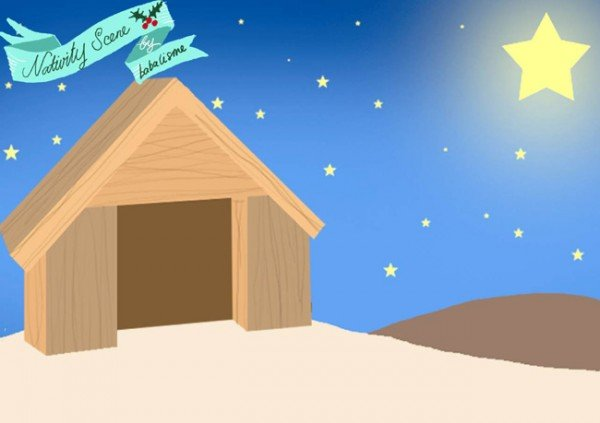 Free nativity paper doll printables backdrop featured on Design Dazzle
