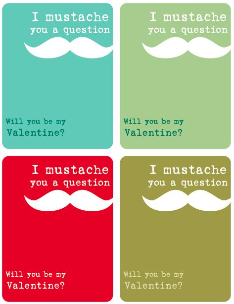 I mustache you a question Valentine FREE printable - Design Dazzle
