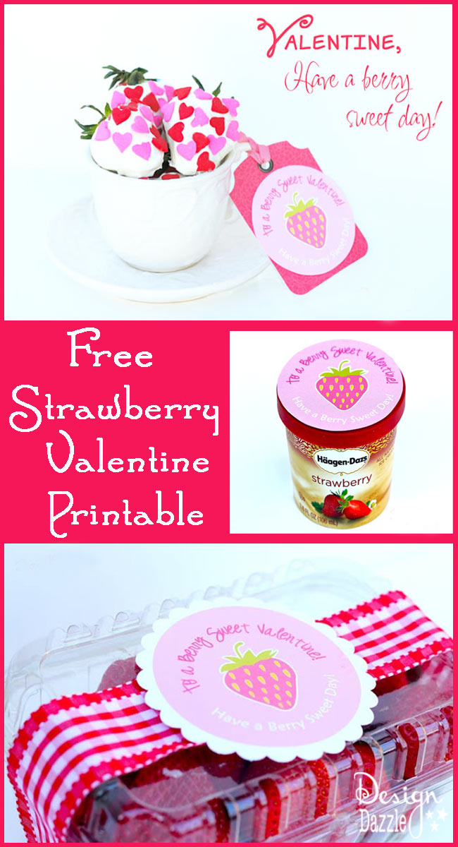 Free Strawberry Valentine Printable - Design Dazzle