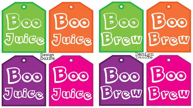 """Free Halloween Drink Tags Boo Juice!: Fun to give as a """"Booed"""" gift or use the monster faces to decorate pumpkins! Design Dazzle #freeprintables #halloweenprintables #monsters"""