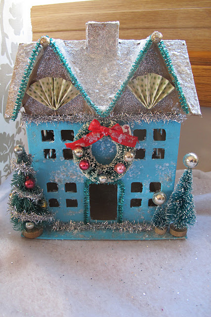 Paper Mache Christmas House featured on Design Dazzle