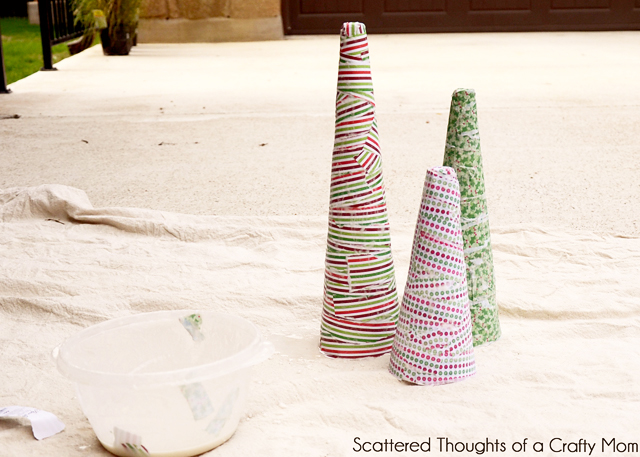 Paper Mache Christmas Cones featured on Design Dazzle