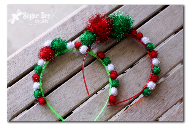 Holiday Headbands are too cute to pass up this Christmas! A great kids craft for the holidays featured on Design Dazzle