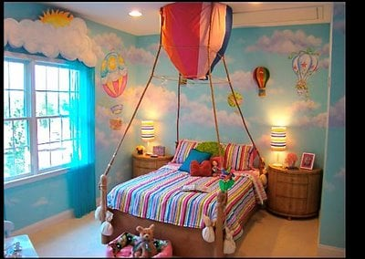 Up up and away hot air balloon room design dazzle for Room decor ideas with balloons
