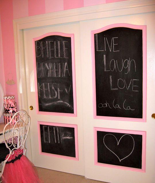 Chalkboard idea on closet doors - super easy! Design Dazzle