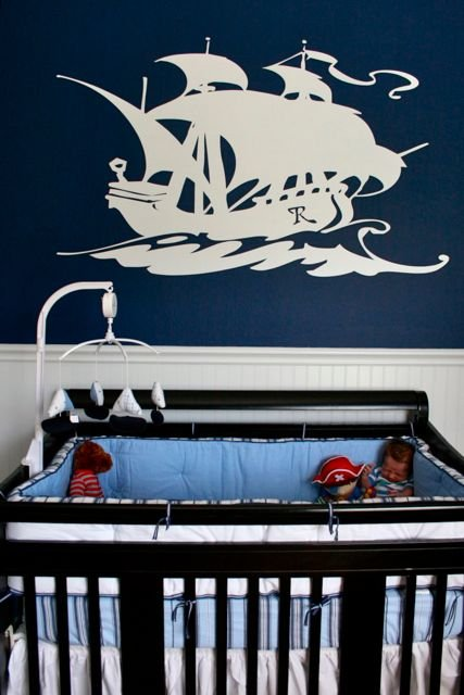 blue and white boys nursery