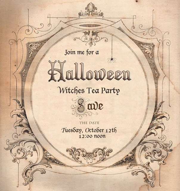 Halloween Witches Tea Party Invitation