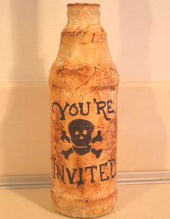 pirate birthday bottle invitation