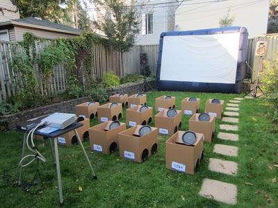 Backyard Drive in Movie Using Cardboard Boxes As The Cars Oh My Gosh