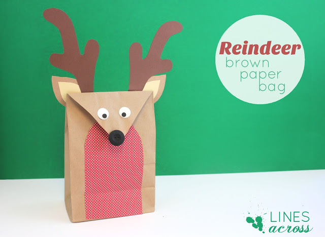 Christmas wonderful brown paper bag reindeer design dazzle for Brown paper bag crafts for toddlers
