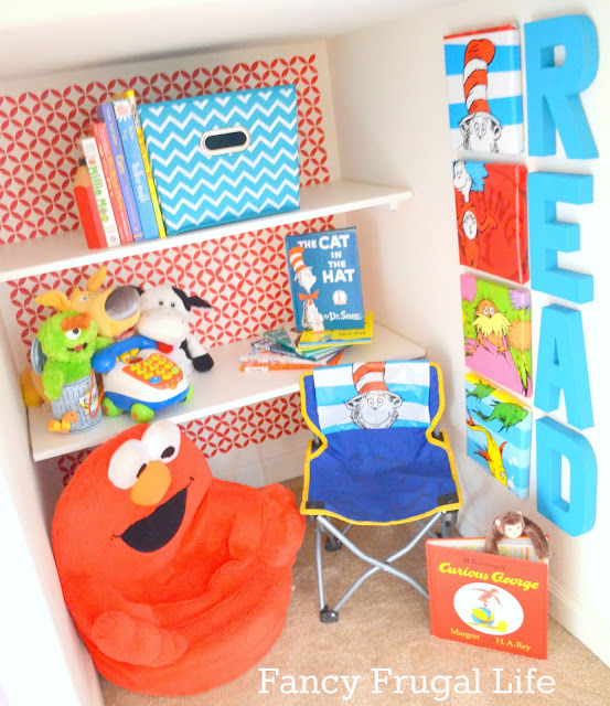 Stair Closet Turned Reading Nook designed by Lina from Fancy Frugal Life! A great place for kids to find their imagination!