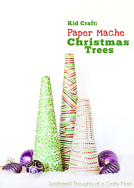 Paper Mache Christmas Trees are a fun and easy craft to do with your kids! Styrofoam cones, christmas craft paper, and a little paper mache makes festive DIY decor! Featured on Design Dazzle