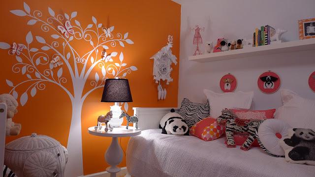 white orange and pink baby nursery
