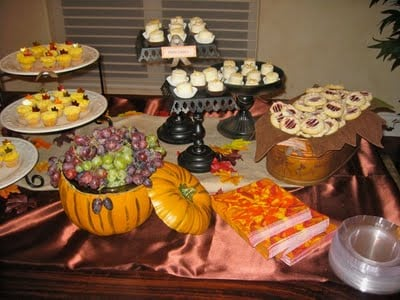 fall baby shower theme with dessert bar design dazzle fall baby shower