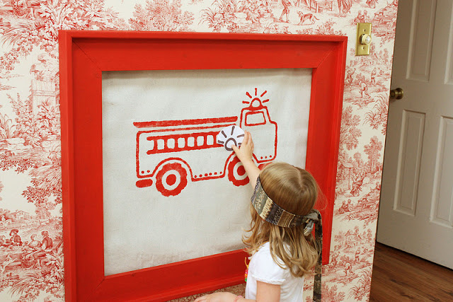 Girly Firetruck Party by Wendy from Green Beansie Ink! What a cute and fresh idea! Decor that doubles as a game!
