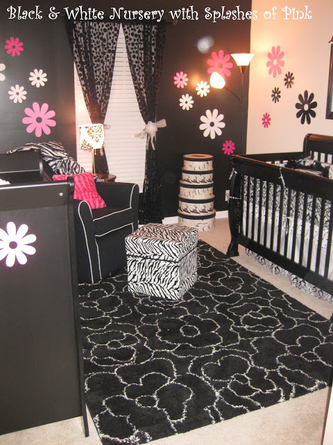 Black Amp White Nursery With Touches Of Pink Design Dazzle