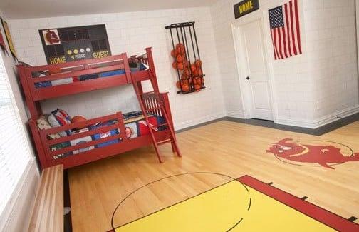 Boys basketball room archives design dazzle for Bedroom basketball hoop