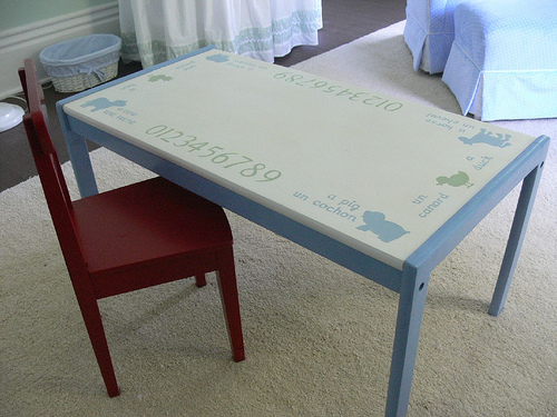 LOVE this desk from this farm themed nursery!