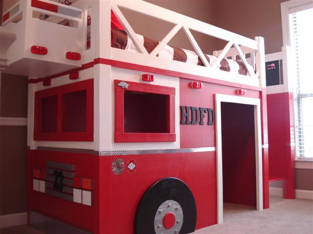 Cool Fire Truck Loft Bed