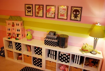 Girls Room Stripes And Polka Dots Design Dazzle