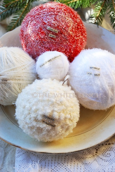 Glittery Yarn Ornaments featured on Design Dazzle