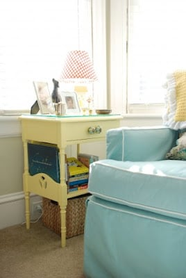 Stunning Aqua and Yellow Baby Nursery by Boots and Tooty. This room is chic and happy!