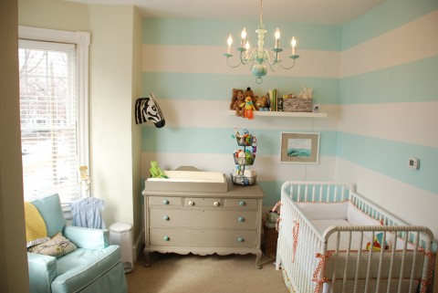 Stunning Aqua Baby Nursery by Boots and Tooty. This room is chic and happy with darling stripes!