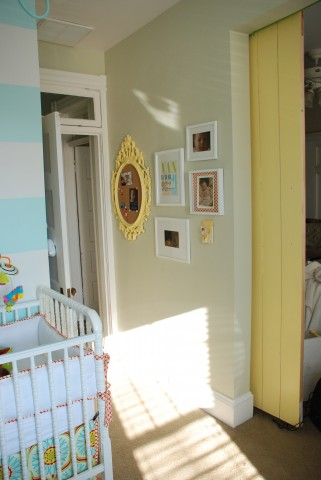 Stunning Aqua and Yellow Baby Nursery by Boots and Tooty. This room is chic and happy with darling stripes!