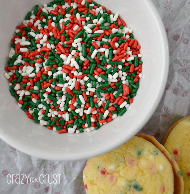 Nothing says Christmas like sprinkles! Sprinkle sandwich cookies featured on Design Dazzle