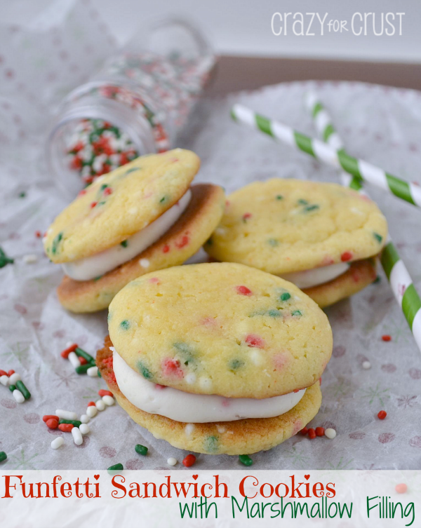 Funfetti Sandwich Cookies with Marshmallow Filling featured on Design Dazzle