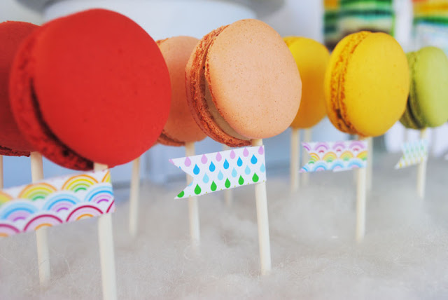 Amazingly colorful rainbow party by Gwynn Wasson! Colorful french macaroons are a perfect addition!