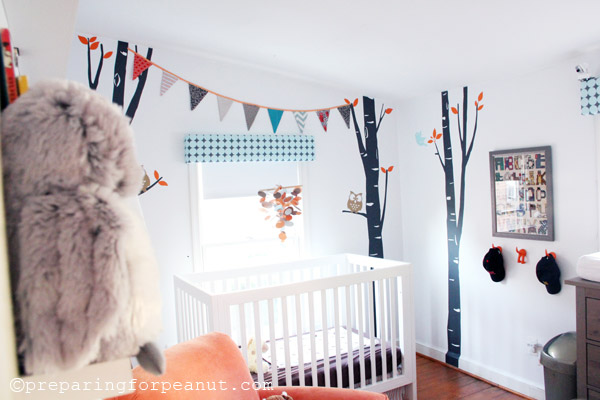 Adorable rental home nursery with an owl/ woods theme. So sweet.