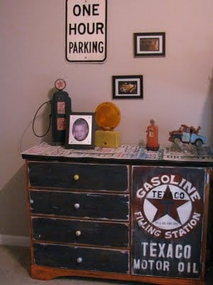 50 Ideas for Car Themed Boys Rooms featured on Design Dazzle! Car room vintage style with old school oil sign!