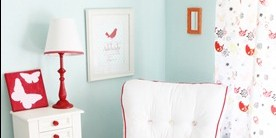 Baby Girl Nursery: Robin's Egg Blue & Red Color Combo
