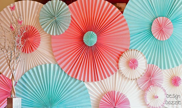 how to make paper rosettes from paper window shades - Design Dazzle