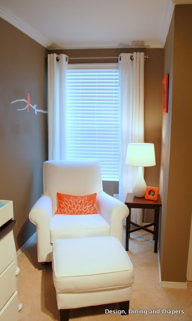Bird Themed Room by Taryn Designing, Dining, + Diapers. Wall Paint: Eddie Bauer Java at Lowes