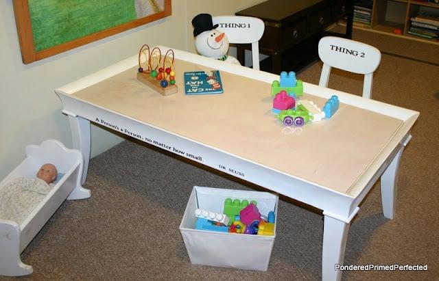 Coffee Table Turned Sensory Playroom Table