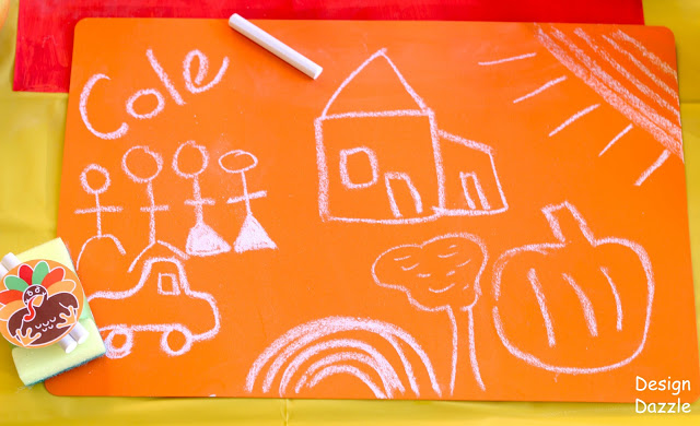 dollar store placemats made into colorful chalkboard thanksgiving placemats, perfect for the kids table! Featured on Design Dazzle