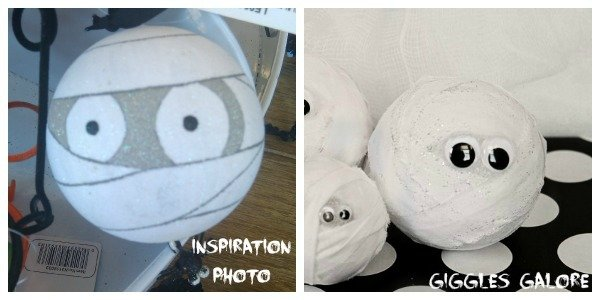 Adorable DIY styrofoam mummies that are easy and so cute for this Halloween!