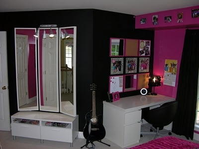 Hot pink and black zebra bedroom design dazzle for Girls bedroom ideas pink and black