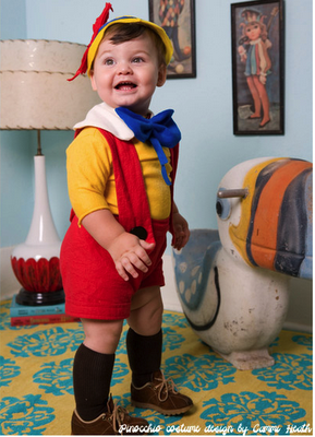 DIY Halloween Costume Ideas that are clever and easy! This Pinocchio is too cute to ever tell a lie!