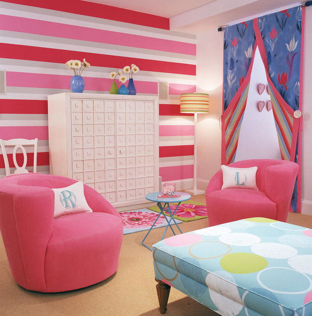 in this girls room and jazzed up the space with colorful stripes