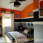 Boys Modern Orange Striped Bedroom